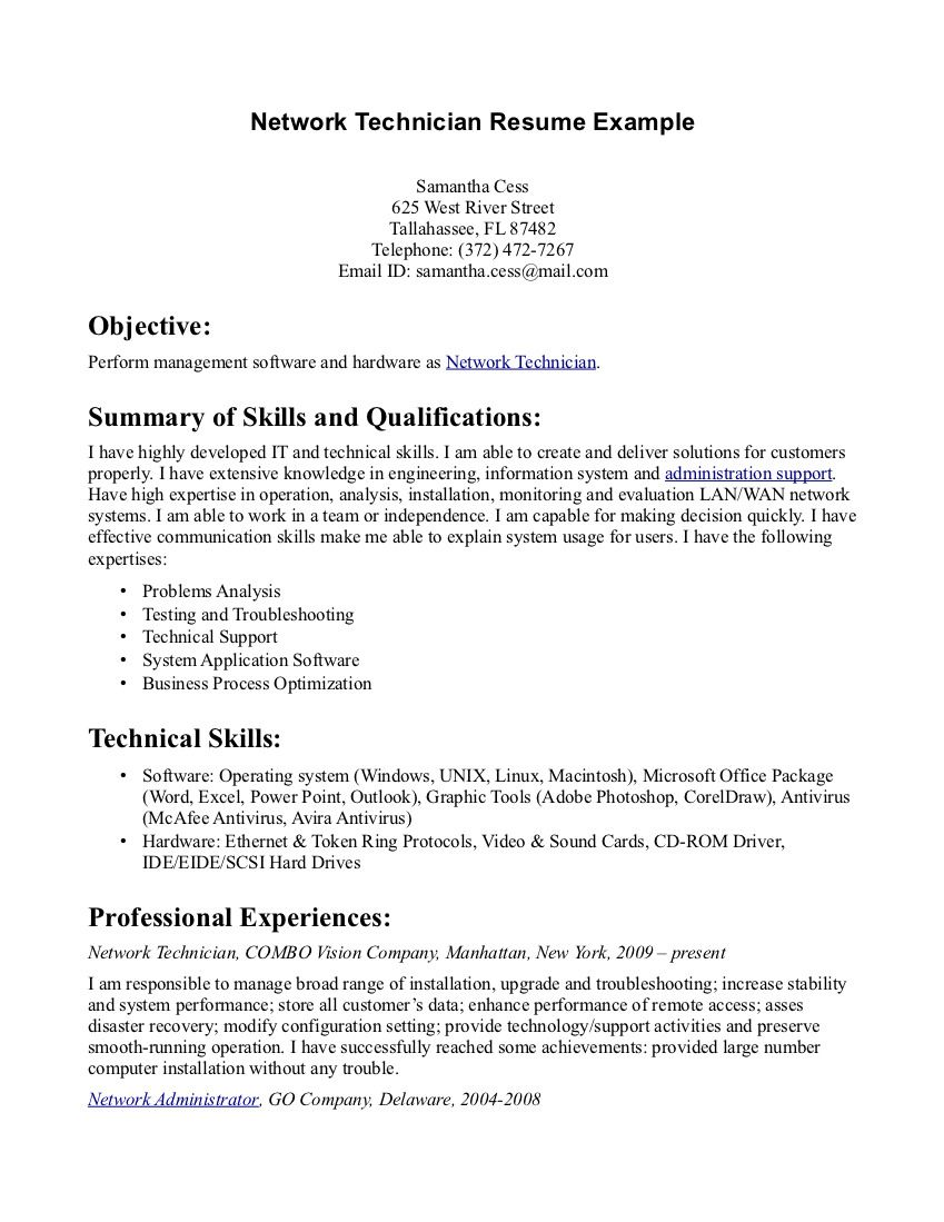 pharmacy tech resume samples sample resumes - Network Technician Resume Sample