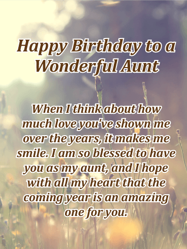 This sentimental birthday card to a wonderful aunt in your ...