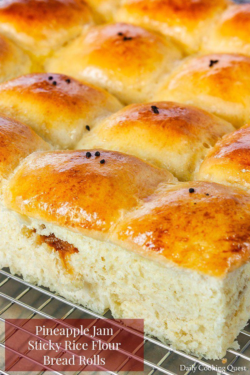 Pineapple Jam Sticky Rice Flour Bread Rolls | Recipe ...