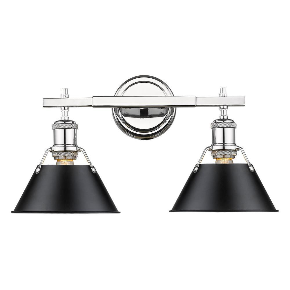 Golden Lighting Orwell 2 Light Chrome With Black Shade Bath