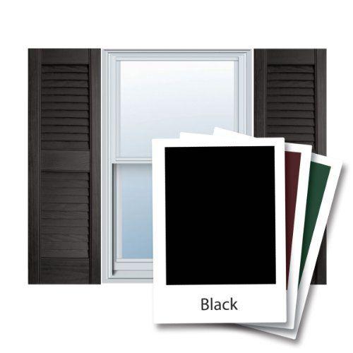 12 X 43 Builders Choice Vinyl Open Louver Window Shutters W Shutter Spikes Screws Per Pair Black By Archi Louver Windows Window Shutters Vinyl Shutters
