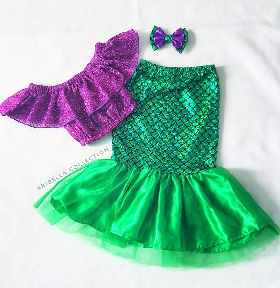 Mermaid Costume Girls Fish Scale Tail Skirt Dot Crop Top Toddler Baby Little Birthday Outfit Set Hair Clip Bow Mermaids READY TO SHIP