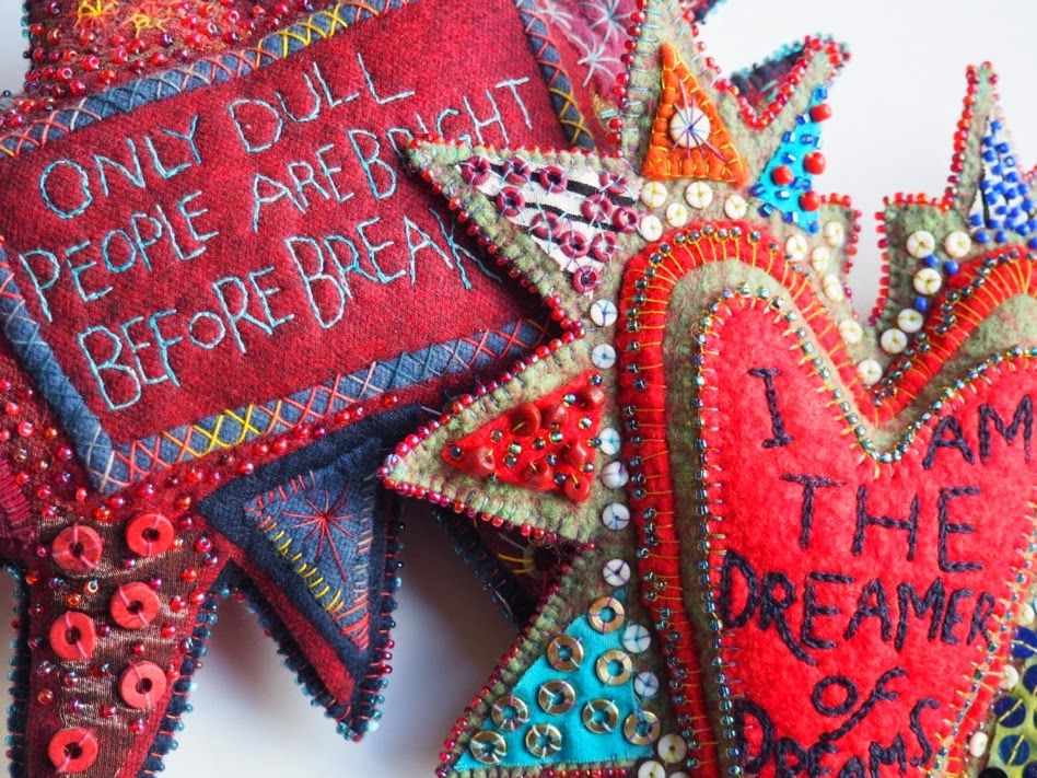 Laura Kemshall: New on DMTV - stuffed, embroidered hearts, stars