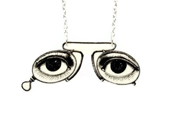Pince Nez Pinch Nose Glasses Necklace by TheSpangledMaker on Etsy, $24.00