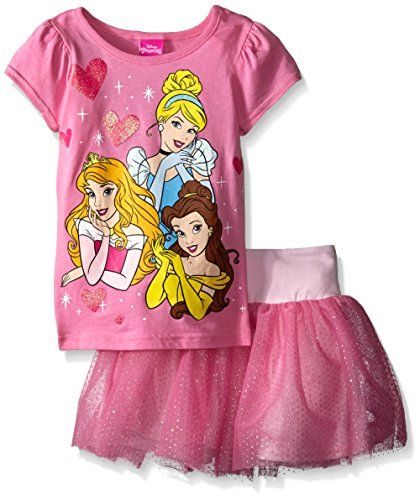 Disney Little Girls' Princess Skirt Set, Doll Pink, 5. Glitter screen-print. Shimmer mesh tutu skirt.