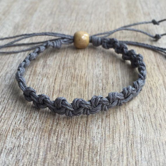 Shell Key, Grey Hemp Anklet, Braided Anklet, Macrame, Surfer Anklet, Unisex anklet, Beach Anklets, Hemp Bracelet HA001016