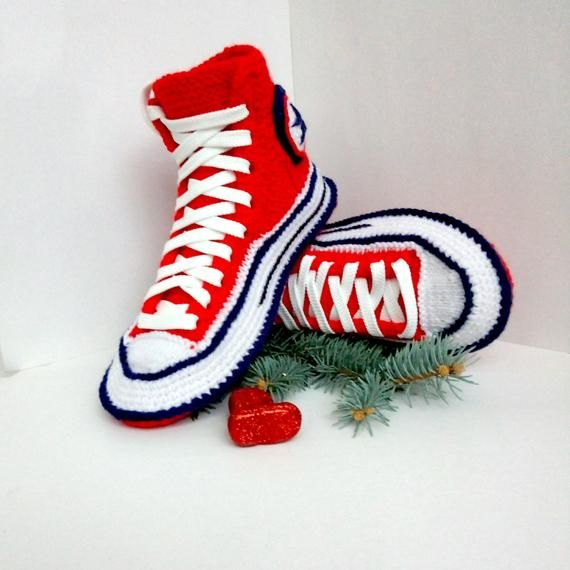 84aae9cd04dc Crochet boots converse House slippers women Knitted socks converse Socks  with sole Knit Converse sli
