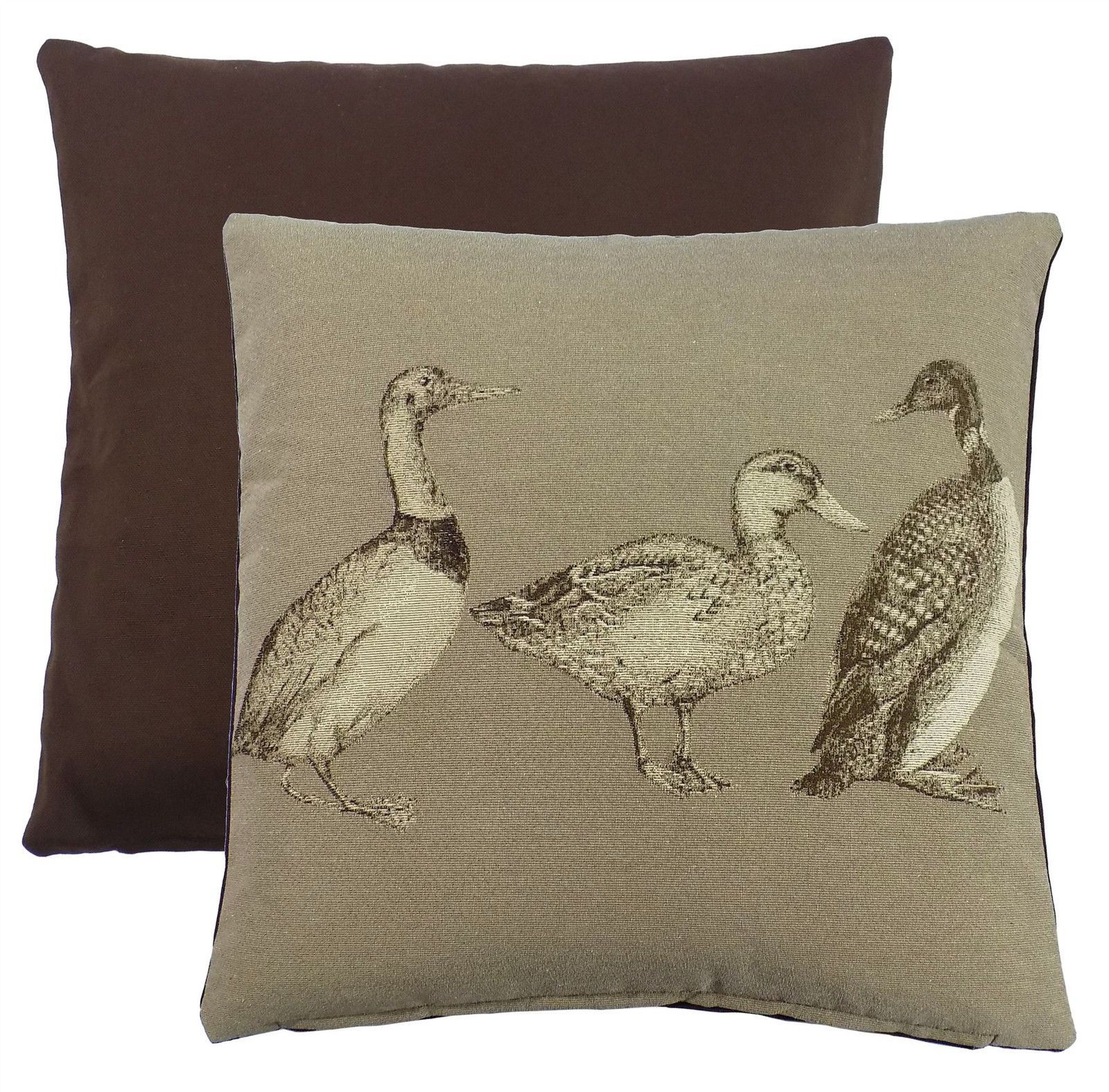 Ducks Tapestry Brown Taupe Beige 18  45Cm Cushion Cover