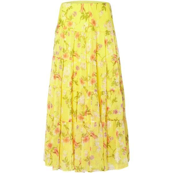 5e4764d516 Lauren Ralph Lauren Moriah Yellow Floral Skirt ($230) ❤ liked on Polyvore  featuring skirts
