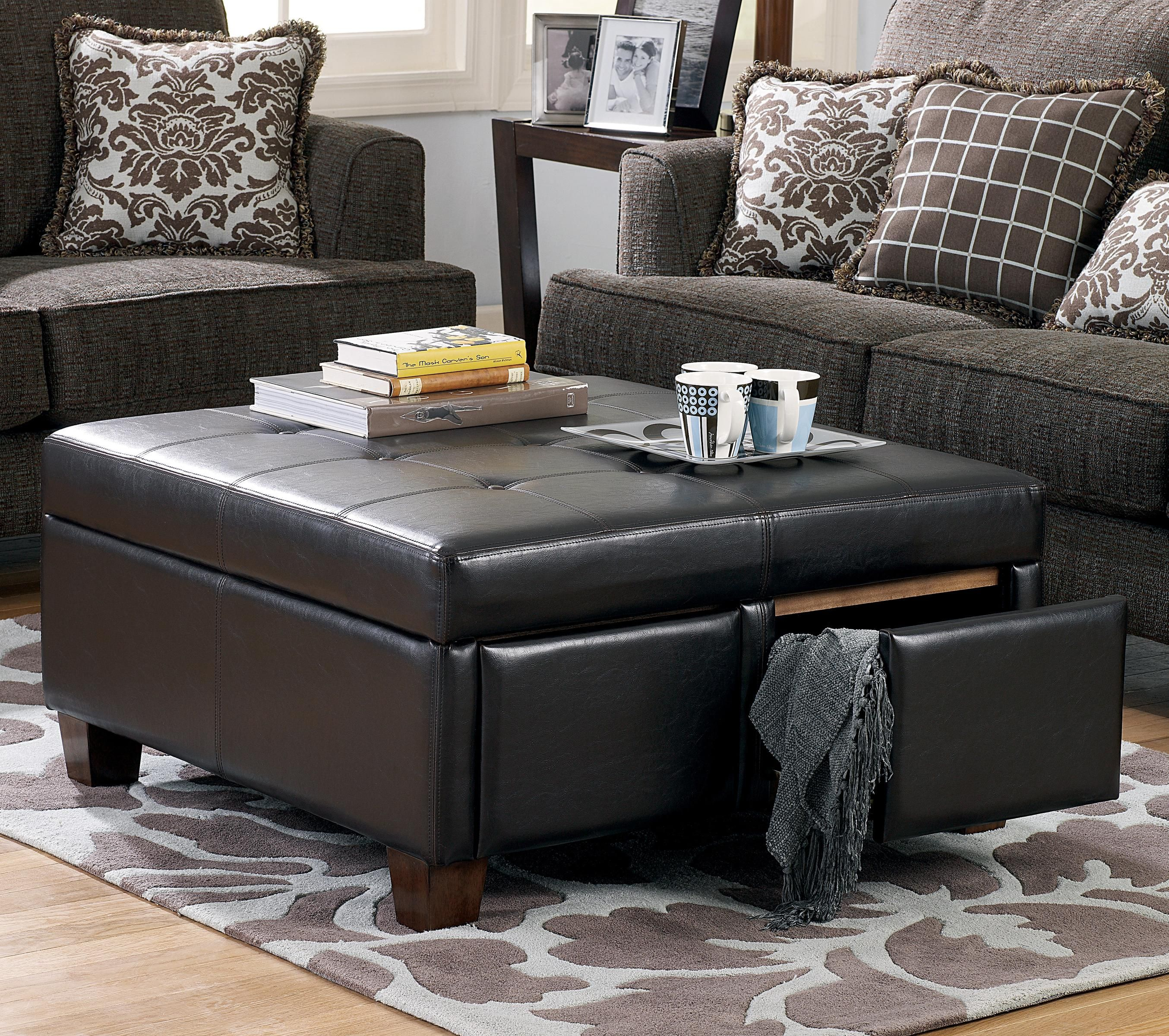 Black Leather Ottoman Coffee Table 1