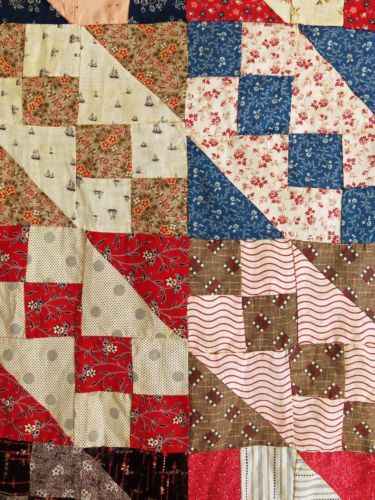 Antique Quilt Top Handmade Jacob S Ladder Beautiful Old Fabrics Browns Indigo Ebay Old Quilts Patchwork Quilts Antique Quilts