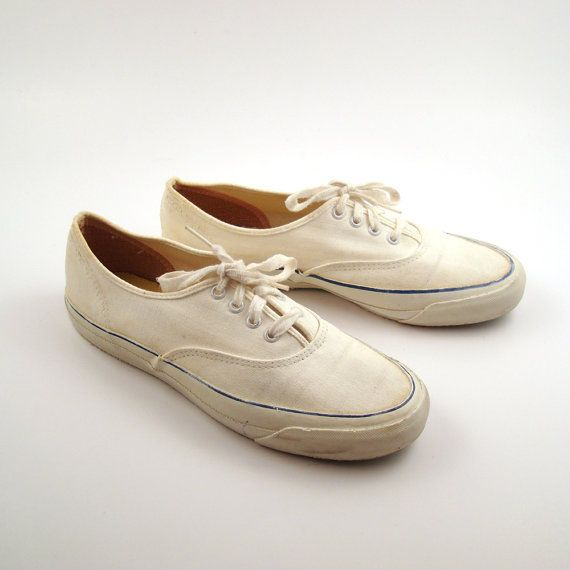 42ab1a69217fa5 White Canvas Sneakers Vintage 1960s Deck by purevintageclothing ...