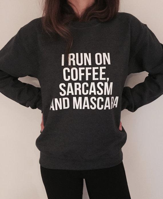 Hoodies Sweatshirt/Autumn Winter Coffee,Brush Style Quotation,Sweatshirts for Women