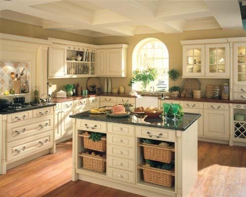 antique white kitchen cabinets for shabby chic style | tuscan