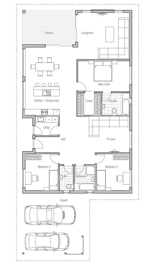 Simple Bedroom Drawing: Affordable Home With Simple Lines And Shapes, Three