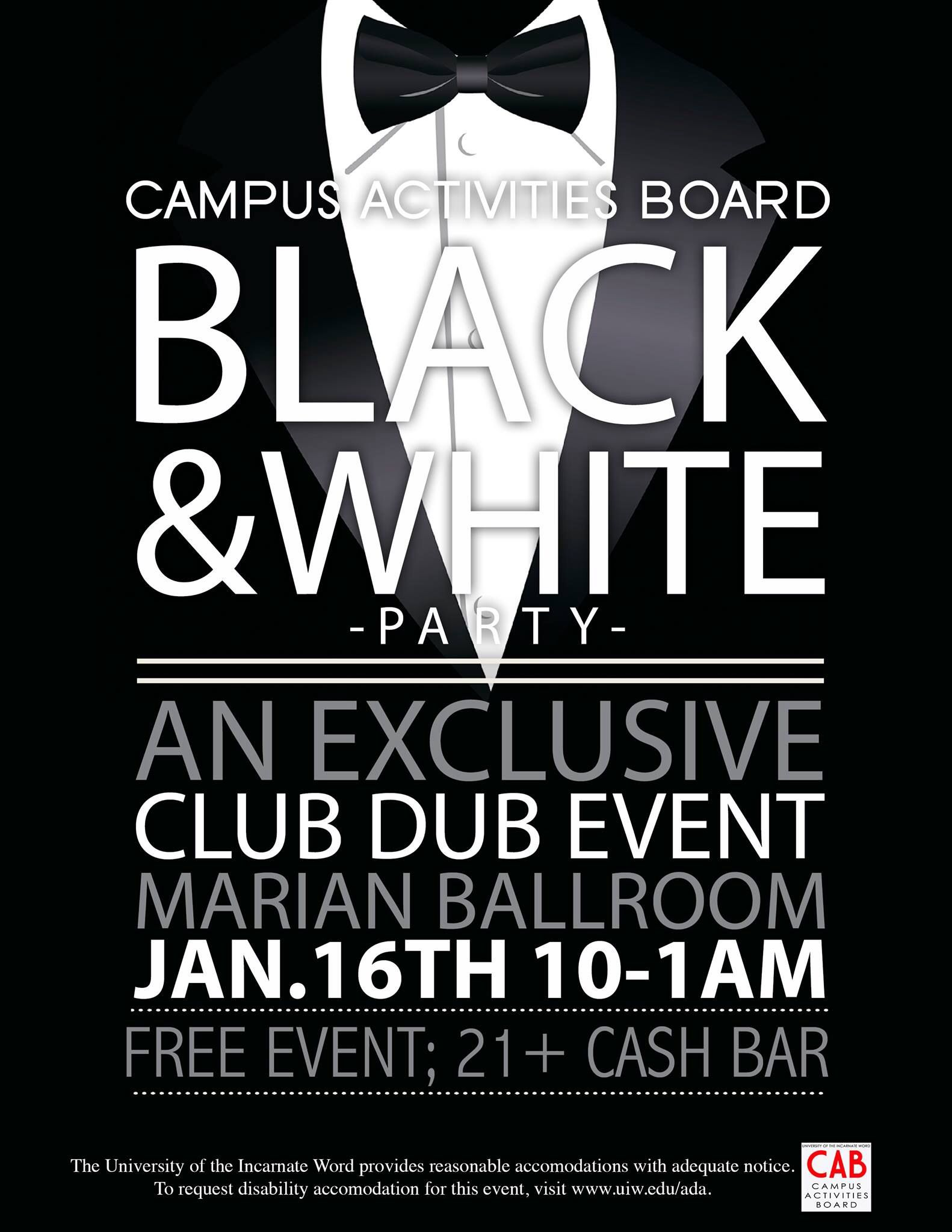 campus activities board black and white party flyer i designed rh pinterest com