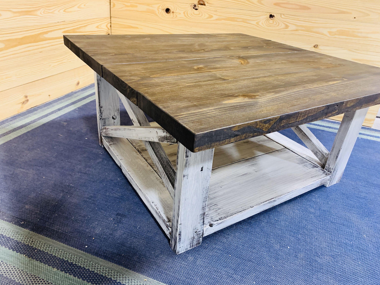 Large farmhouse style coffee table square table espresso