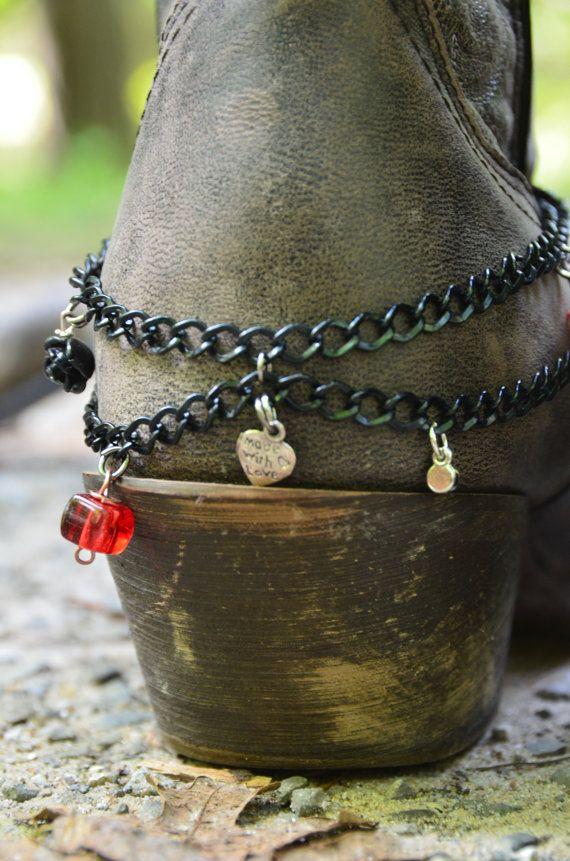 Rose and key Bootlet.Anklet for your by LightningBugBoutique