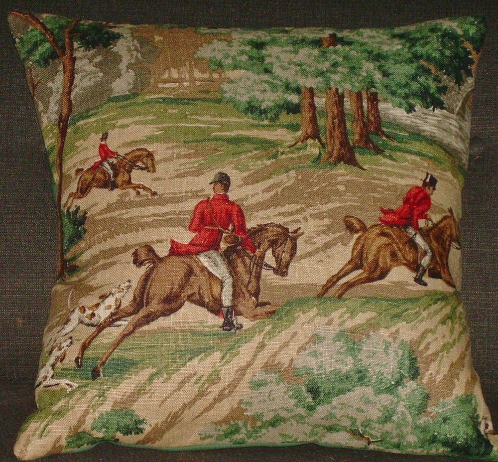 "Fox Hunt Pillow Cover Barkcloth ""The Huntsman B"" Mid Century Vintage 19"" Den 