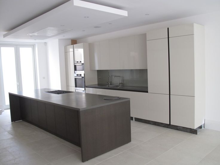 Suspended Ceiling With Lights And Flat Extractor Hood Over Kitchen Island,  Task Lighting, Extractor Hood