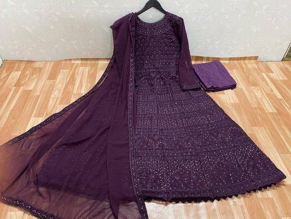 Wine purple anarkali suit Punjabi suit Indian long
