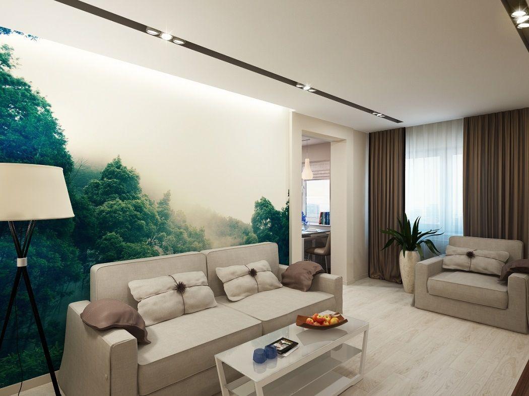 Фотообои в зале (19 фото): дизайн гостиной комнаты с ...