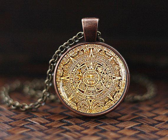 Mayan calendar pedant mayan calendar jewelry aztec calendar mayan calendar pedant mayan calendar jewelry aztec calendar necklace mayan pendant mayan jewelry glass dome pendant mens necklace aloadofball Image collections