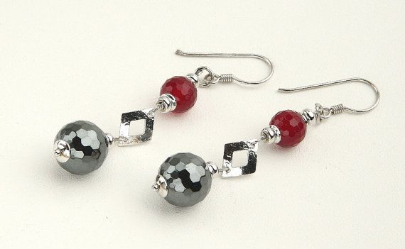 Hematite Balls, Red Agate Beads, Sterling Silver 925 Rhodium Plated, Handmade Italian Earrings, Tuscany's Gift, Made in Italy Jewelry 7965