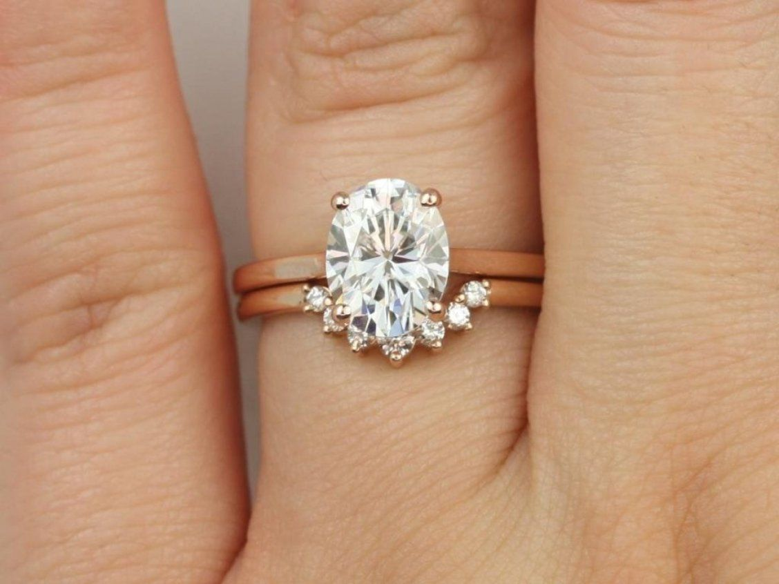 0c59b0abed36a Rosados Box Delia 9x7mm & Rayna 14kt Rose Gold Oval F1- Moissanite ...