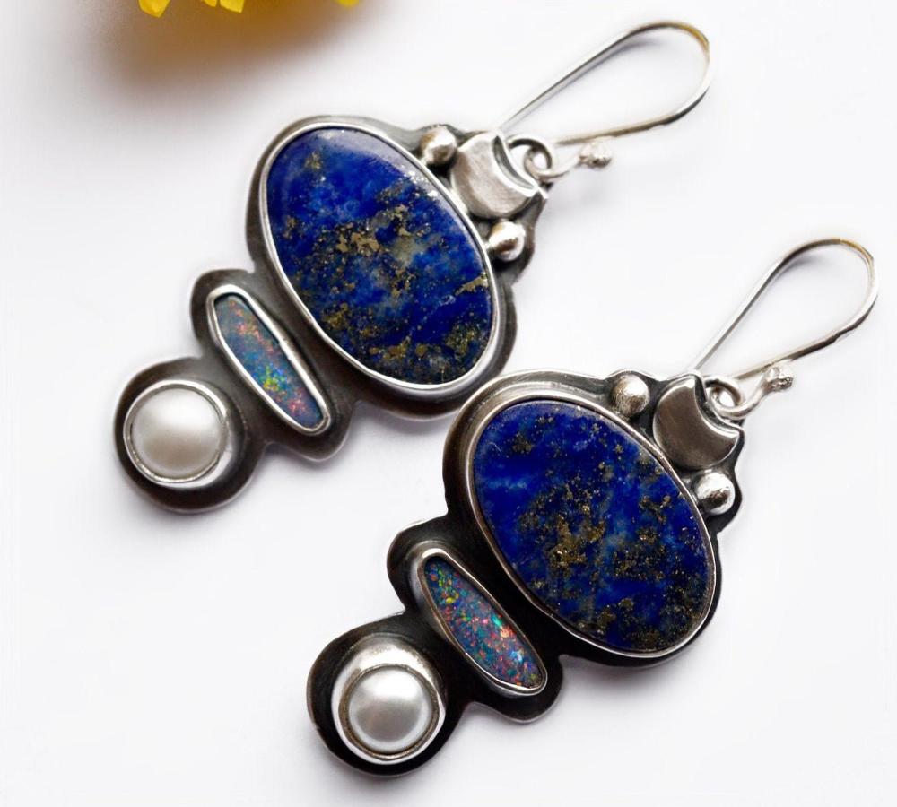 girlfriend stainless steel cabochon gift gemstone blue earrings Earrings lapis lazuli earrings stainless steel
