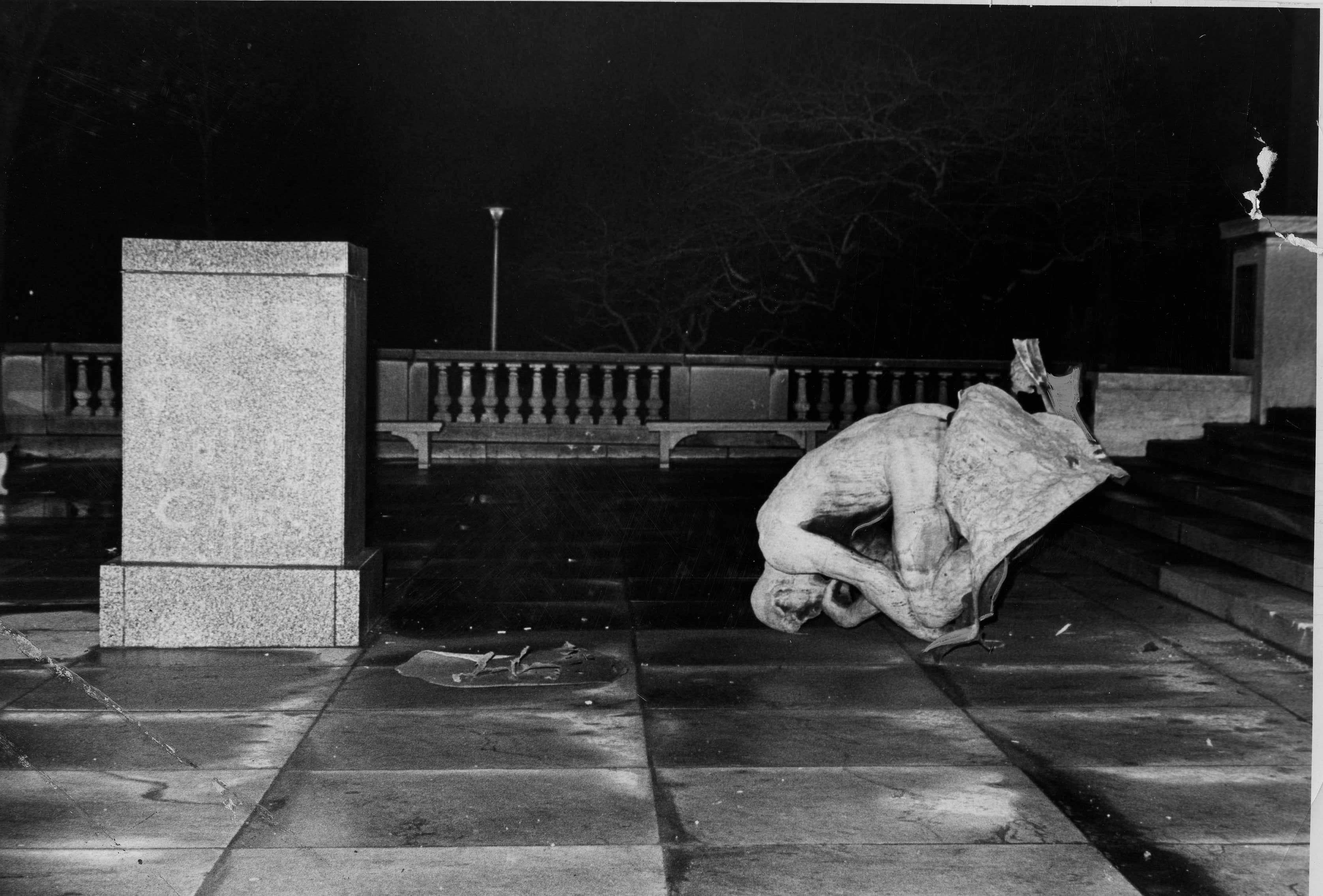 In 1970 Unknown Person Group Bombed Rodin' Statue Thinker Front Of Cleveland