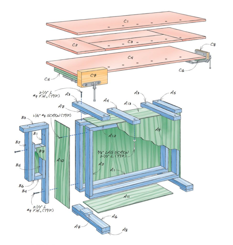diy workbench plans – box beam bench   woodworking   diy