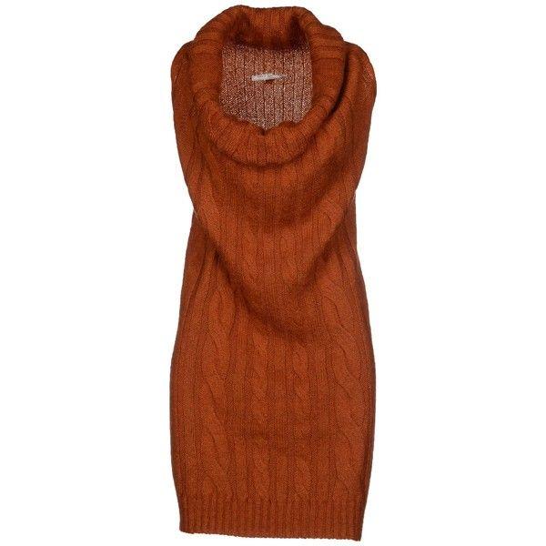 Daniele Alessandrini Short Dress (€61) found on Polyvore featuring women's fashion, dresses, rust, rust dress, sleeveless wool dress, wool mini dress, short brown dress and brown sleeveless dress