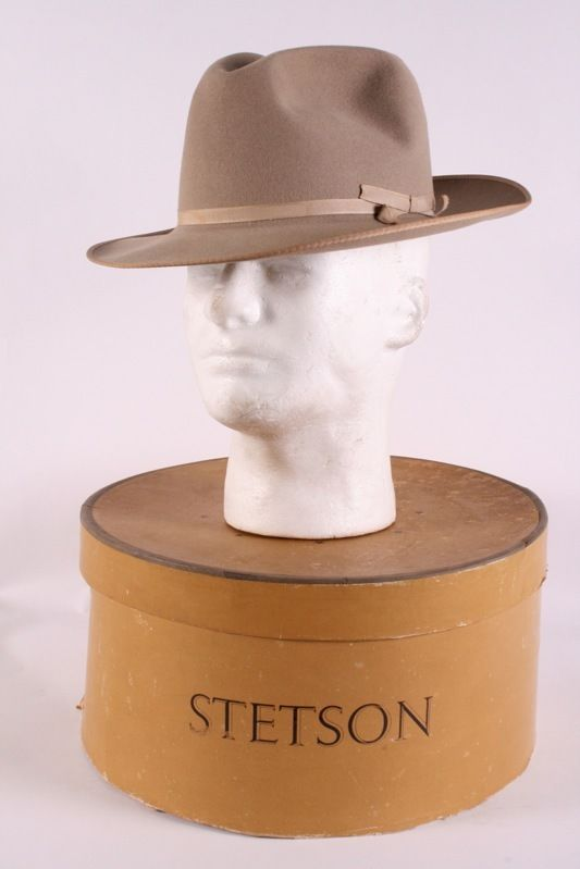 58fa383610d VINTAGE STETSON ROYAL DELUXE THE OPEN ROAD FEDORA HAT 7 1 8 WITH BOX  Fedora