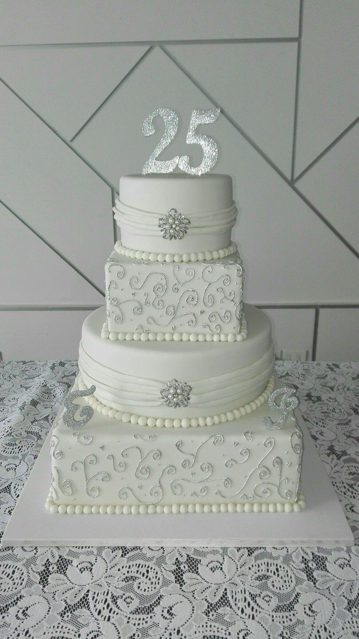 Torta bodas de plata silver cake mye pinterest - Ideas bodas de plata ...
