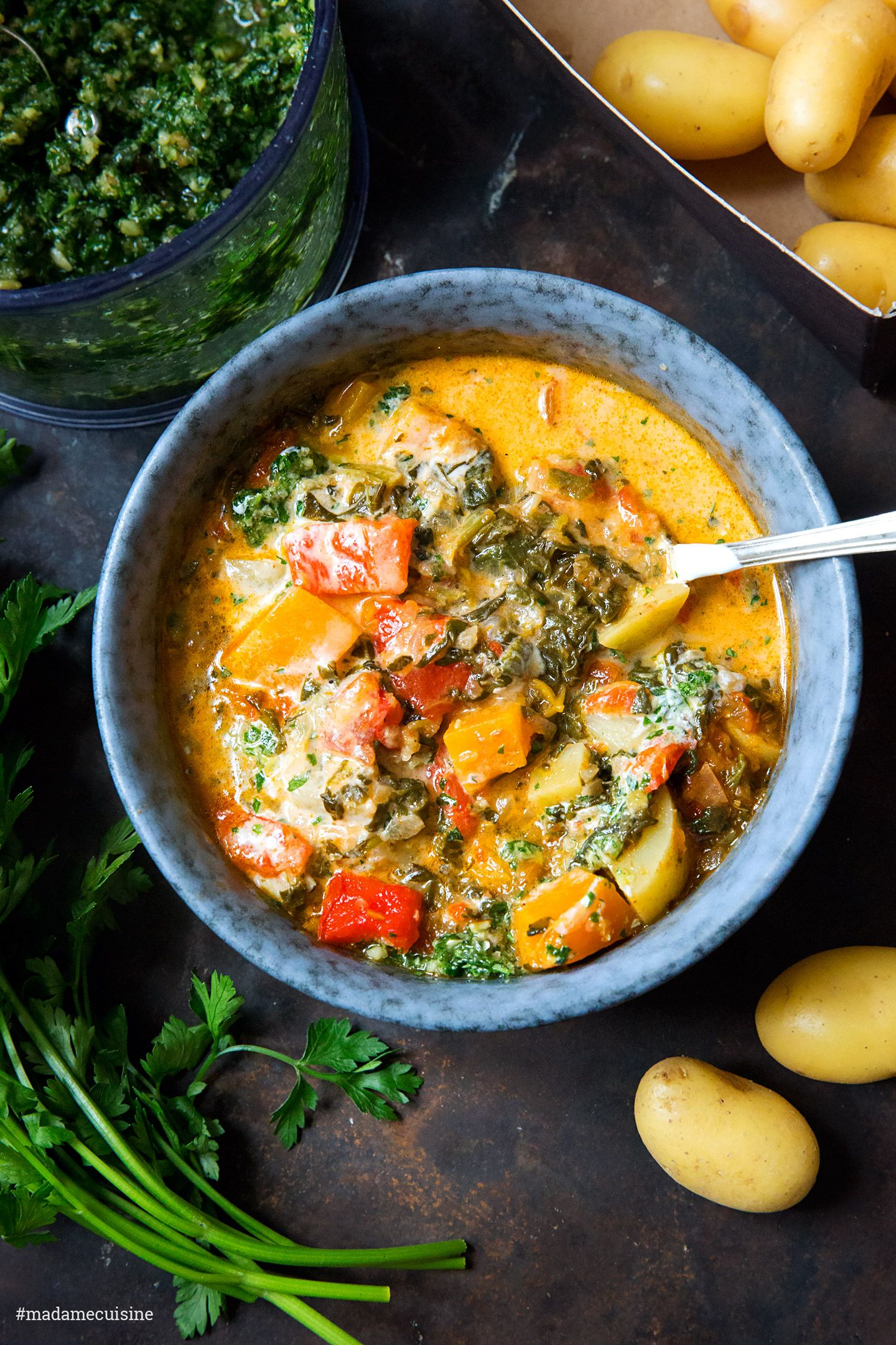 Photo of Potato goulash with peppers and parsley pesto – Madame …