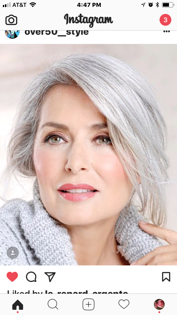Beautiful makeup with grey hair Silver grey hair