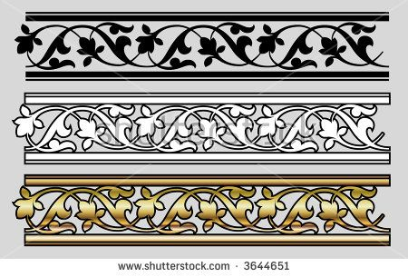 Seamless Victorian Style Design Elements Vector Sanat Desen