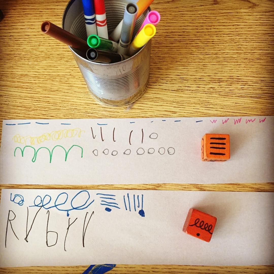 """""""Roll the dice and create the lines. This will help them with their handwriting. #kindergarten #iteachk #prewriting #finemotorskills #fdk #ece…"""""""