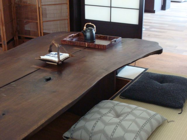 Were thinking of moving to a more japanese style of dining look the japanese dining table with space carved for feet below workwithnaturefo
