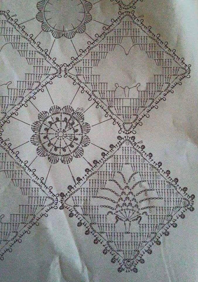 Centrino Alluncinetto Composto Da Mattonelle Uncinetto Crochet