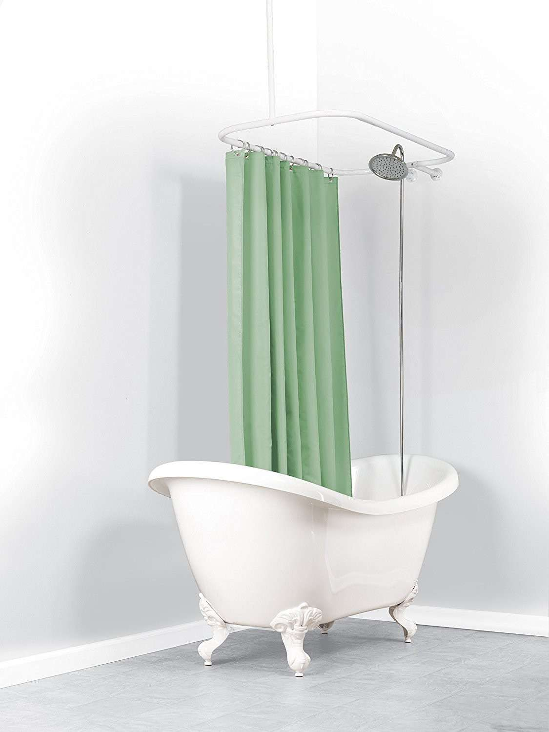 Oval Shower Curtain Rod For Clawfoot Tub Fresh Design Oval Shower