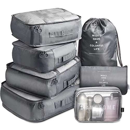 Travel Packing Cubes Vagreez Travel Luggage Organizers Packing Cubes With Laundry Bag And Toiletry In 2020 Packing Luggage Travel Luggage Packing Luggage Organization