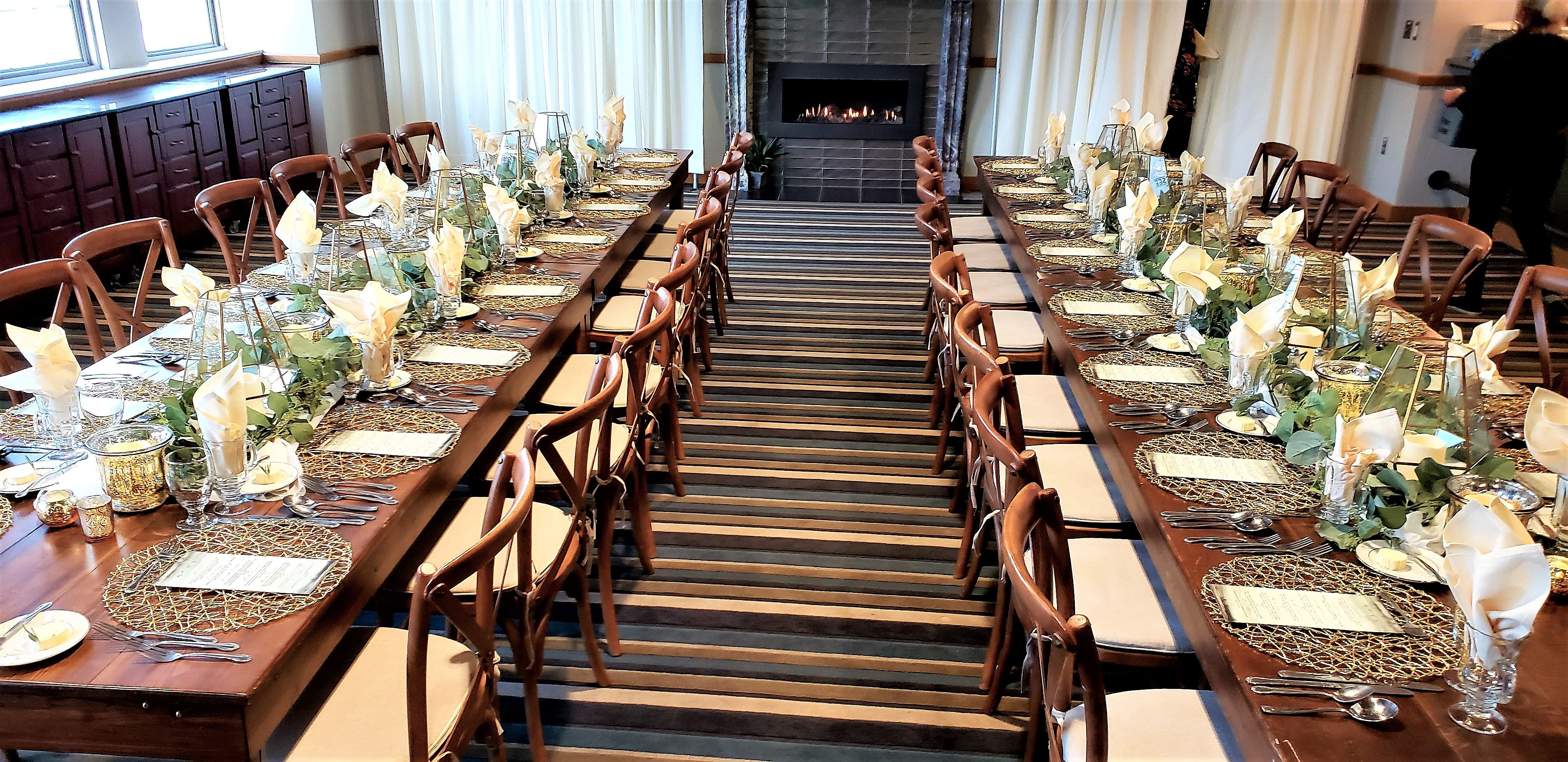 Farm tables with gold accents in 2020 farm table party