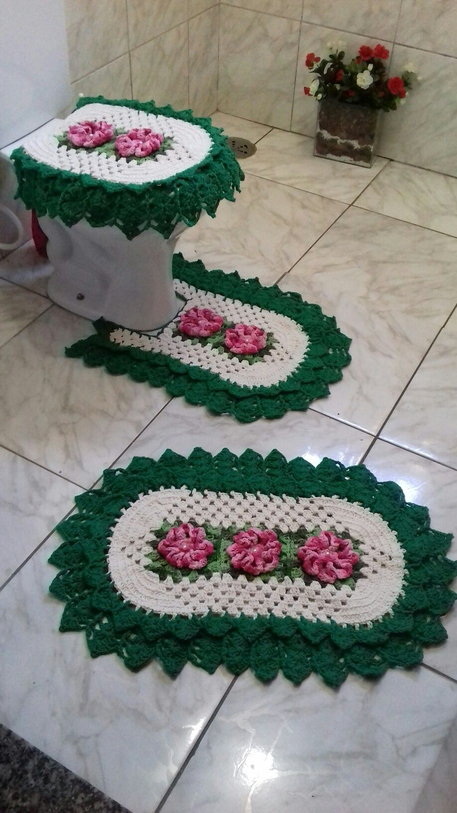 Criente Satisfeita Jogos De Banheiro Croche Jogos De Banheiro Tapete De Croche