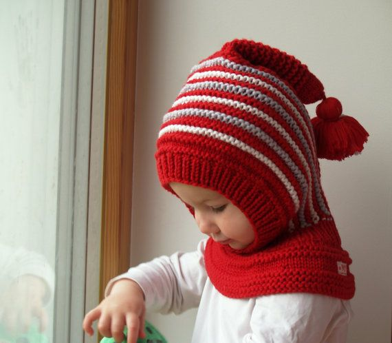 6-12 Months, 1-3, 3-6, 6-10 years, Knit Balaclava for Baby, Toddler, Child Hoodie Hat with Pom Pom Tail, Wool Helmet, Elf Hat and Neckwarmer
