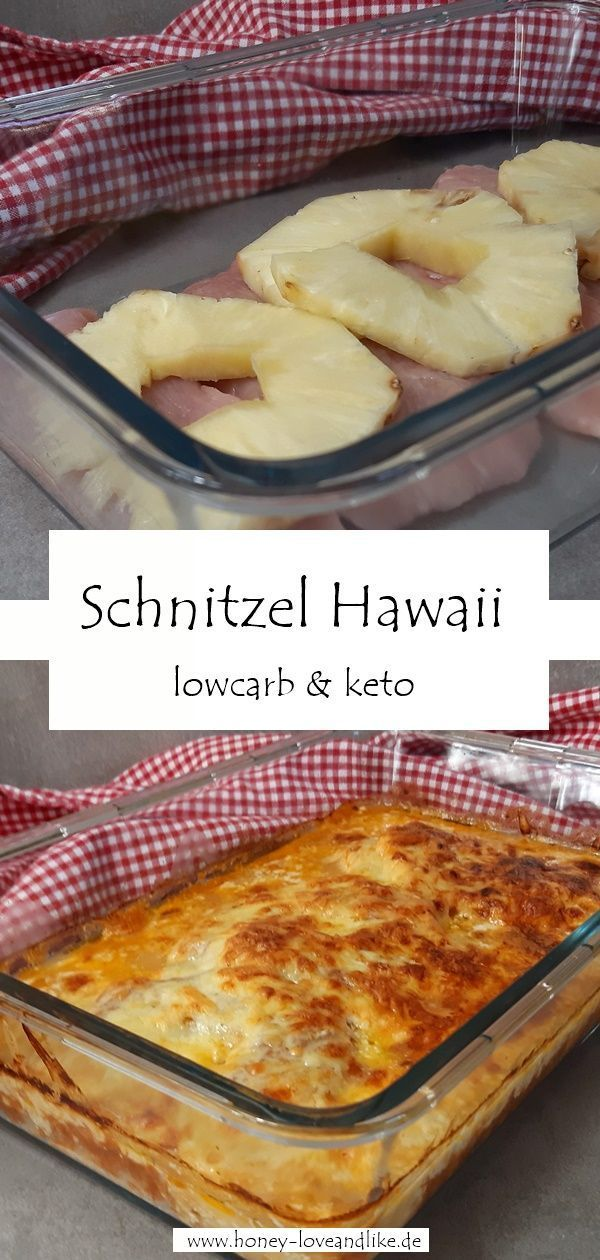 Photo of Lowcarb Schnitzel Hawaii with tomato sauce, cream and lots of cheese