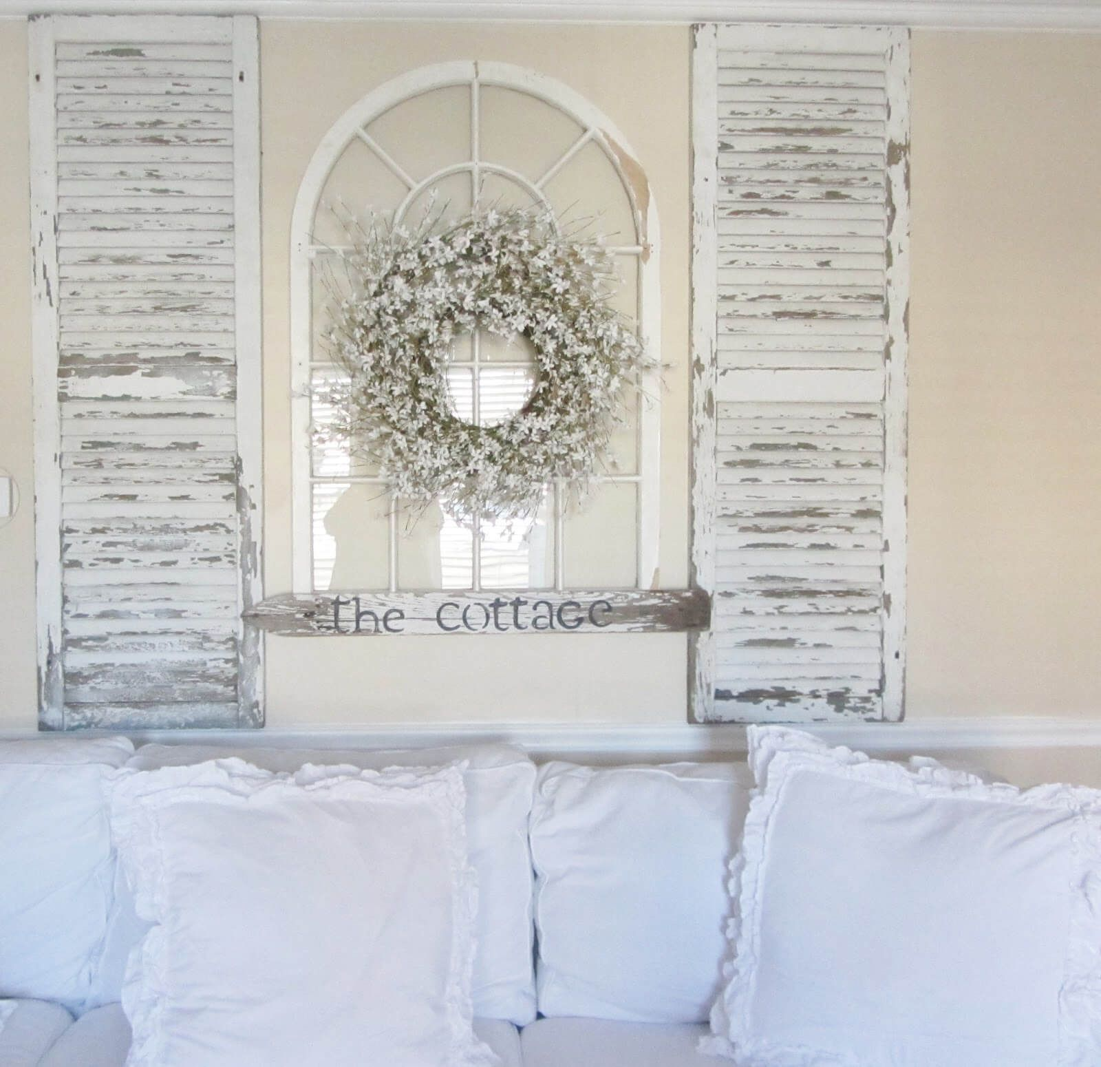 Easy Headboard From Whitewashed Shutters And Window Frame | Home ...