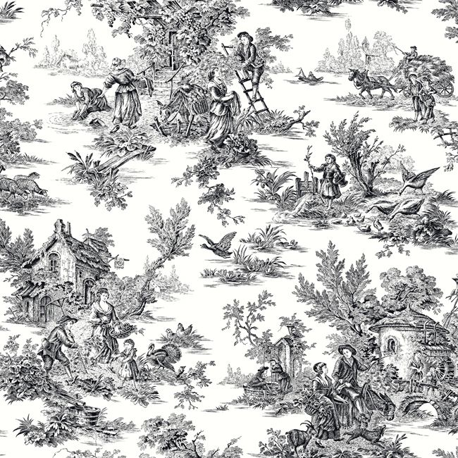 AT4228 Ashford Toiles Champagne Toile Wallpaper By York In 2019