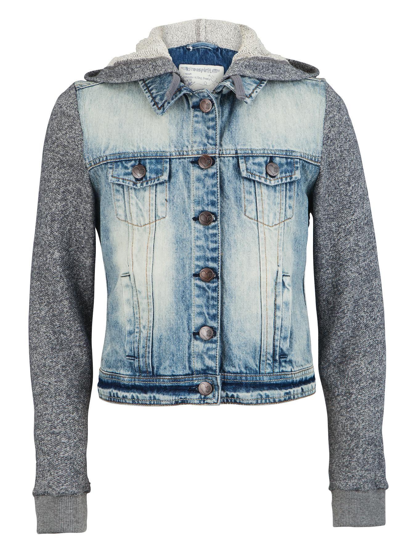 Freespirit Girls Denim Jacket with Marl Sleeves | very.co.uk ...